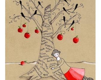 When I wear my red skirt - Art Print
