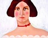 Original Art Magnet - Red Velvet Ribbon - Gothic - Christmas