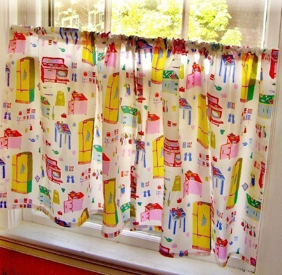 RETRO Vintage Style Kitschy Kitchen Cafe Curtains PAIR Of 2