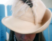 Handcrafted Vintage Sandra New York Exclusive Cream Wool Hat with Pheasant Feather