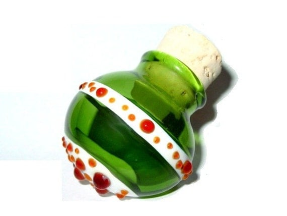 Green and Red Dots glass stash jar by Infinite Cosmos