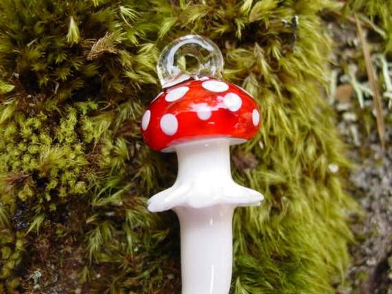 Amanita Mushroom glass pendant Infinite Cosmos Glass