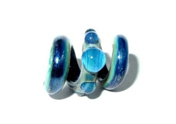 Ocean Bubbles Dreadlock glass squiggle dread bead