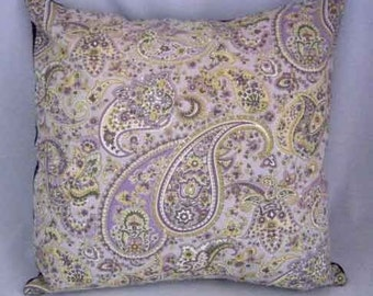 Laura Ashley Purple Paisley fabric | Chenille Pillow Cover 18 in by 18 in | Throw Pillow Cover