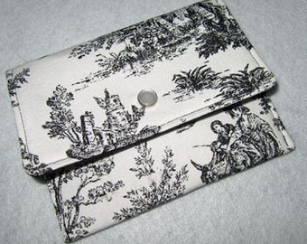 Wallet Business Card holder | Change Coin Purse | Black White Toile