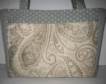 Large Handbag Purse Tote | Cream Spa Blue Paisley