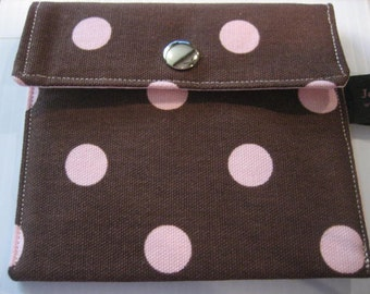 Ladies Wallet Business Card holder | Change Coin Purse | Brown Pink Polka dot
