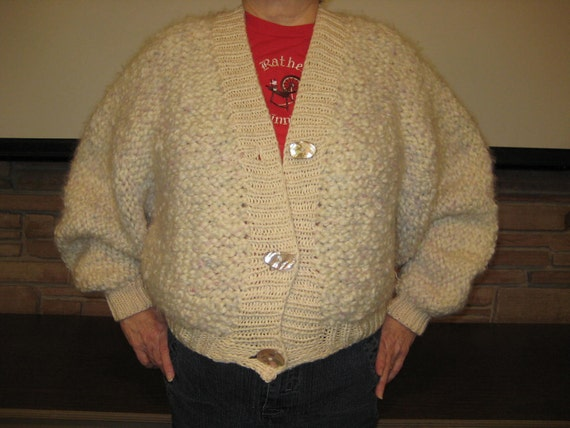 Bulky hand knit sweater
