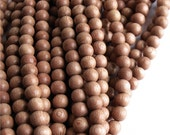 Wood Bead, Round 6mm, Rosewood - Ten 16 Inch Strands
