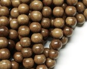 WDRD-10RB - (Three) Wood Bead, Round 10mm, Robles - 16 Inch Strands