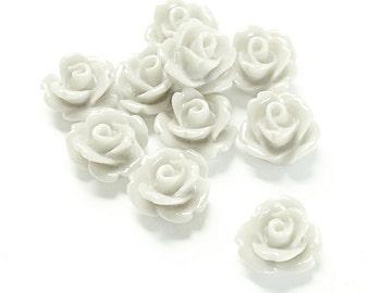RSCRS-10WT - Resin Cabochon, Rose 10mm, White - 10 Pieces (1pk)