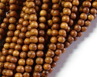 Wood Bead, Round 5mm, Bayong - 16 Inch Strand