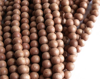 WDRD-06RS - (Three) Wood Bead, Round 6mm, Rosewood - 16 Inch Strands