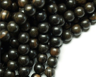 Wood Bead, Round 8mm, Tiger Ebony - Ten 16 Inch Strands