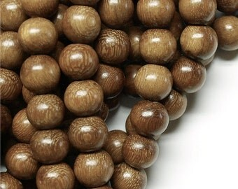 WDRD-12RB - Wood Bead, Round 12mm, Robles - 16 Inch Strand