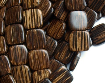 WDSQ-16PM - Wood Bead, Flat Square 16mm, Old Palm - 8 Inch Strand