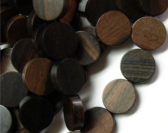 WDCN-15TE - (Five) Wood Bead, Coin 15mm, Tiger Ebony - 16 Inch Strands