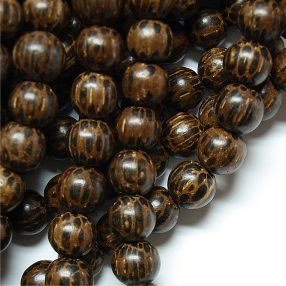 WDRD-12PM - Wood Bead, Round 12mm, Old Palm - 16 Inch Strand