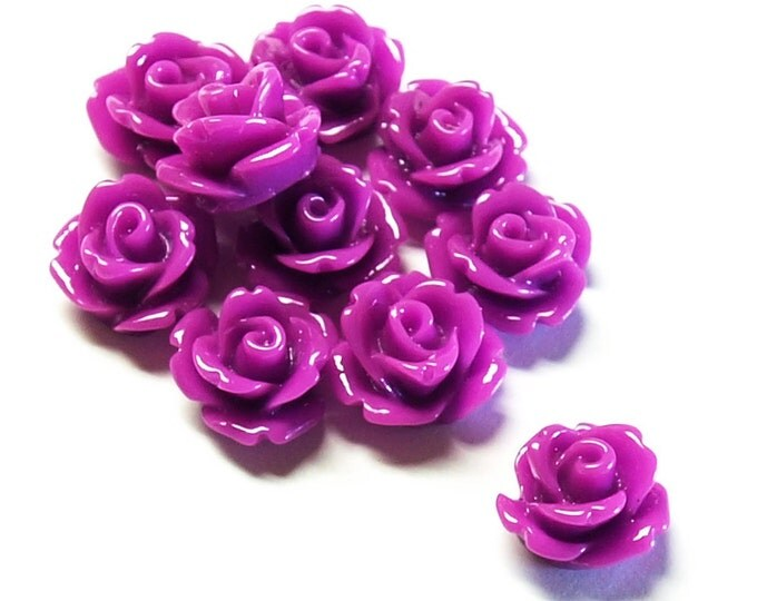 RSCRS-10OR - Resin Cabochon, Rose 10mm, Orchid - 10 Pieces (1pk)