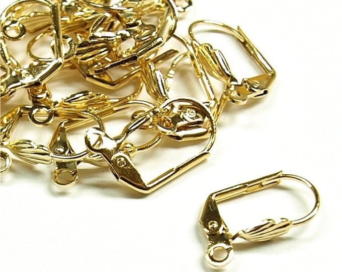 EWBGP-lbs - Earwire, Leverback Shell, Gold - 10 Pieces (1pk)