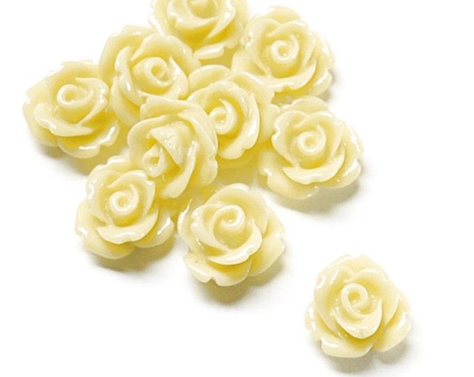 RSCRS-10BT - Resin Cabochon, Rose 10mm, Butter - 10 Pieces (1pk)