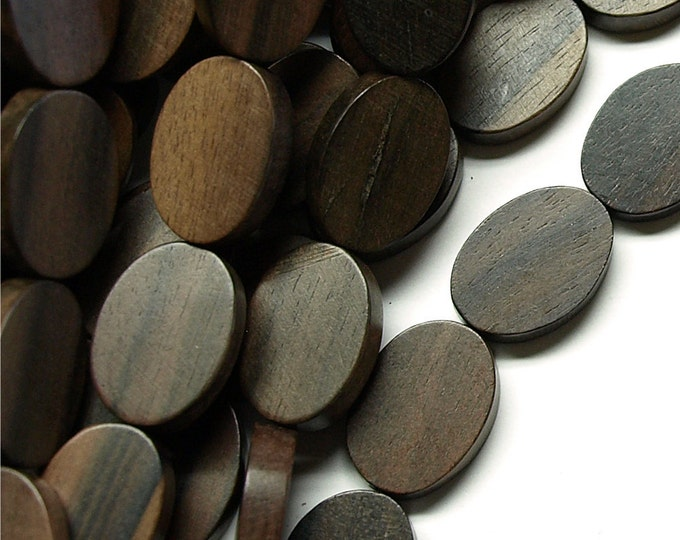 Wood Bead, Flat Oval 15x20mm, Tiger Ebony - Three 16 Inch Strands (WDOVF-20TE)