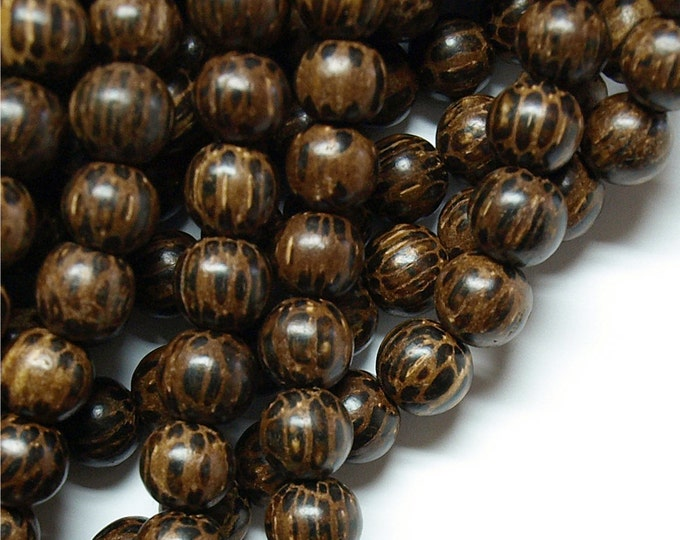 Wood Bead, Round 10mm, Old Palm - 16 Inch Strand (WDRD-10PM)