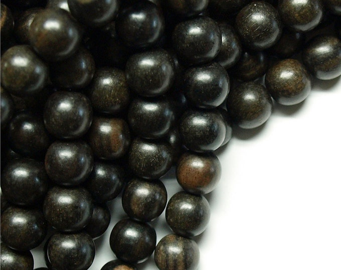 Wood Bead, Round 10mm, Tiger Ebony - Ten 16 Inch Strands (WDRD-10TE)