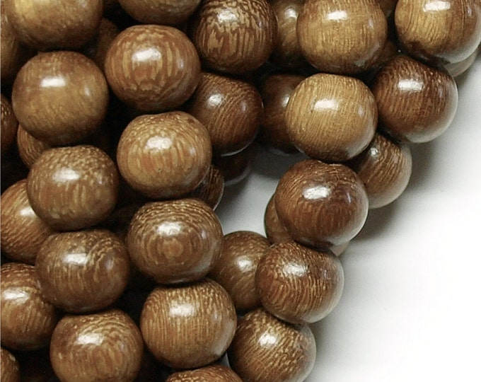 WDRD-15RB - (Three) Wood Bead, Round 15mm, Robles - 16 Inch Strand