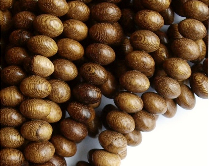 WDRN-10RB - (Five) Wood Bead, Rondelle 6x10mm, Robles - 16 Inch Strands