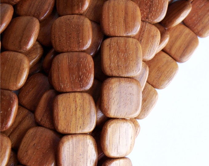 WDSQ-16BY - (Five) Wood Bead, Flat Square 16mm, Bayong - 16 Inch Strands