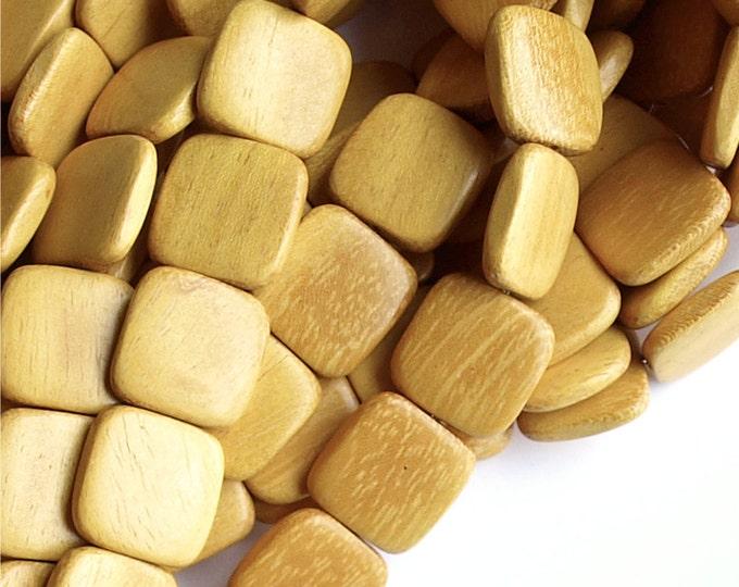 Wood Bead, Flat Square 16mm, Nangka - 8 Inch Strand (WDSQ-16NK)