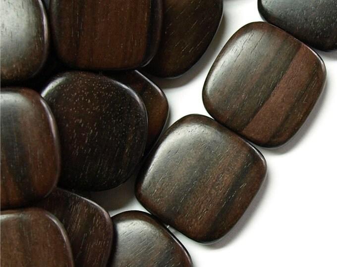 WDSQ-25TE - Wood Bead, Flat Square 25mm, Tiger Ebony - 16 Inch Strand