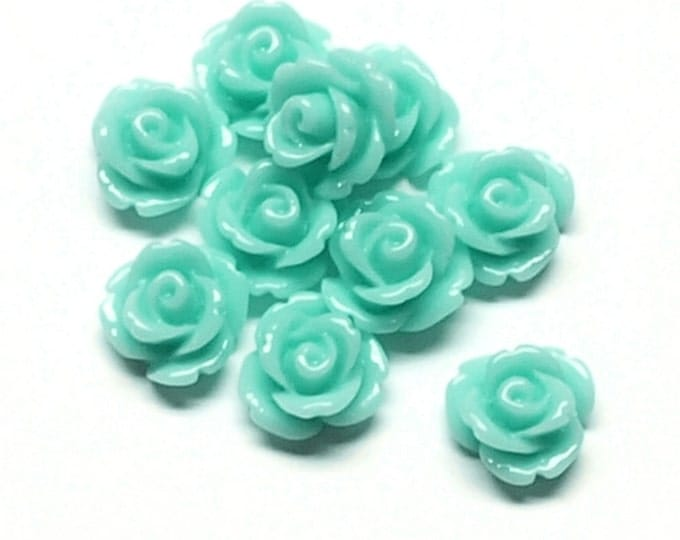 RSCRS-10AQ - Resin Cabochon, Rose 10mm, Aquamarine - 10 Pieces (1pk)