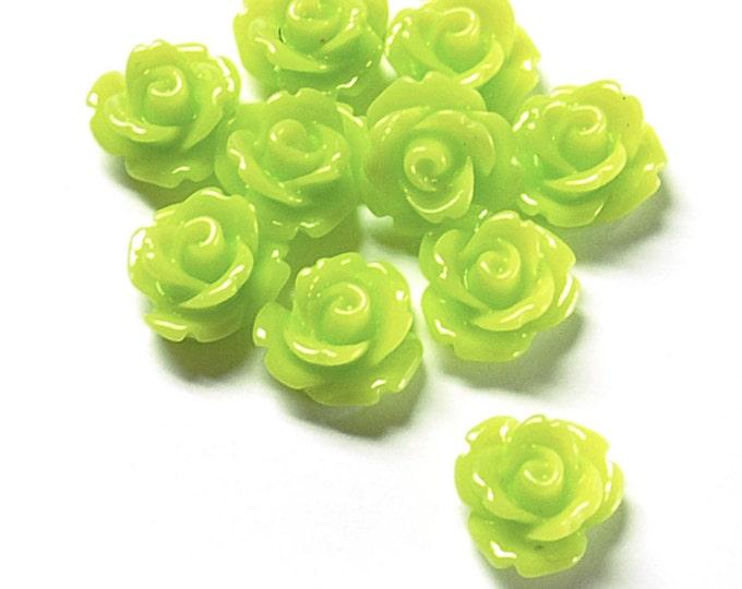 RSCRS-10LL - Resin Cabochon, Rose 10mm, Lemon Lime - 10 Pieces (1pk)