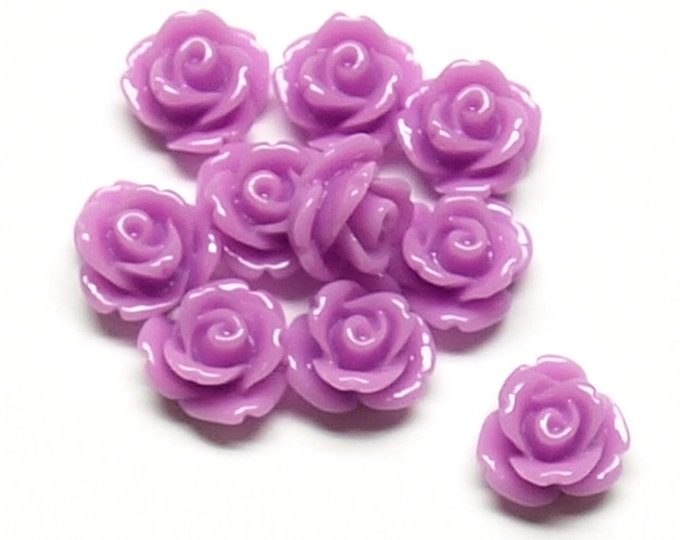 RSCRS-10VI - Resin Cabochon, Rose 10mm, Violet - 10 Pieces (1pk)