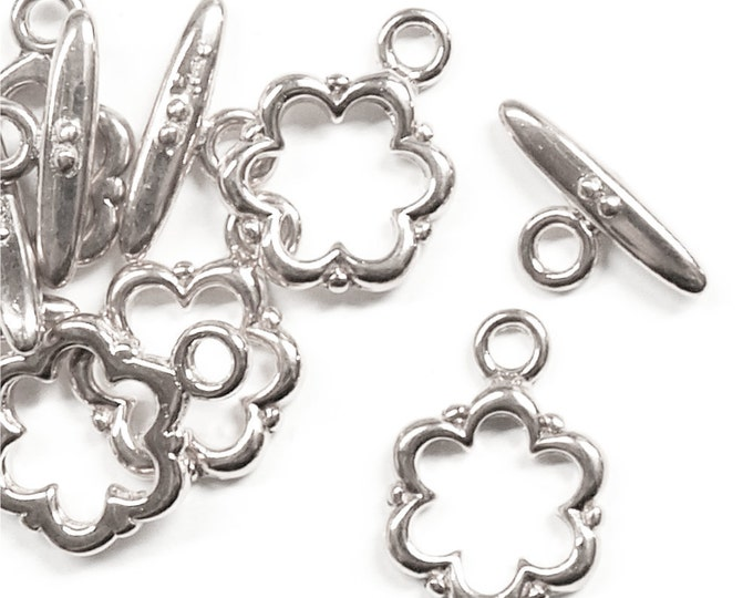 CLASP-TG03 - Clasp, Toggle, 13mm, Silver - 5 Sets