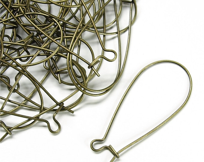EWBAB-kd35 - Earwire, Kidney Large, Antique Brass - 10 Pieces (1pk)