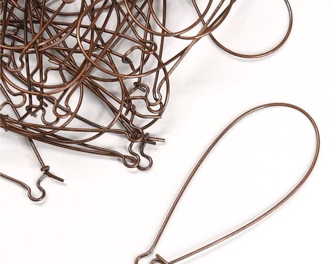 EWBAC-kd48 - Earwire, Kidney X-Large, Antique Copper - 10 Pieces (1pk)