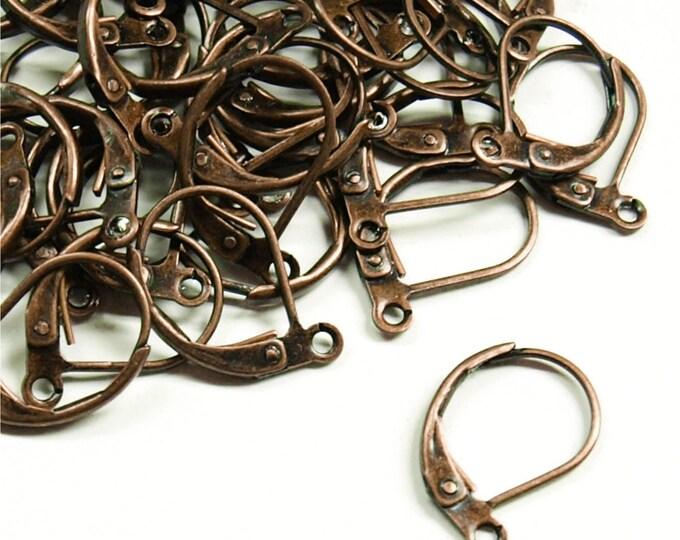 EWBAC-lb - Earwire, Leverback, Antique Copper - 10 Pieces (1pk)