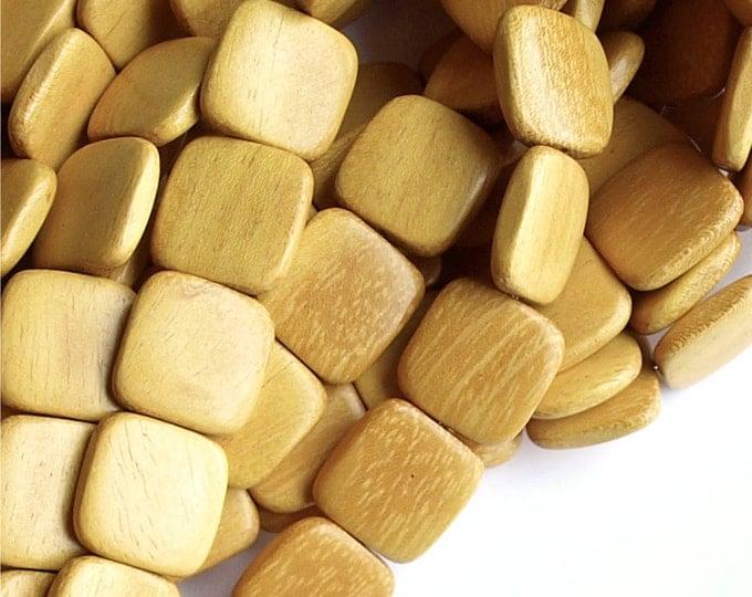 Wood Bead, Flat Square 16mm, Nangka - 16 Inch Strand (WDSQ-16NK)