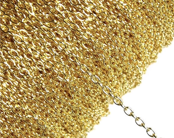 CLOSEOUT - CHIGP-CA30 - Chain, Cable 3mm, Gold - 1 Meter