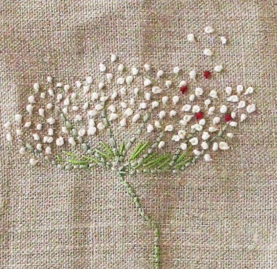 REDUCED Embroidery on heavy linen, Floral