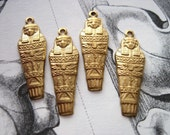 Brass Egyptian Mummy Sarcophagus Charms jewelry SET of FOUR