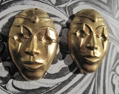 SALE Vintage Brass Masquerade Mask Pendant Charms One Pair