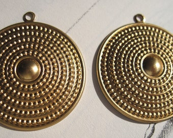 BRaSS Ancient TRiBaL Dotted SHIELD Pendant Findings One pair