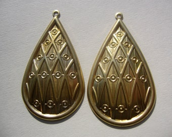 Large Brass TRiBaL Tear Drop Pendants ONE PAIR Jewelry Components New Design