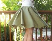 Gathered Circle Skirt Green Polka Dot  26 to 34 inch waist