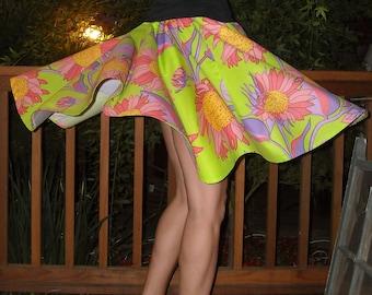 Bright Circle Skirt Lime Floral Print Full Circle Elastic Womens Skirt Custom neon Skirt