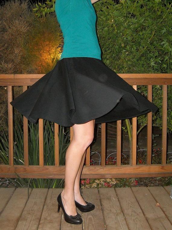 Black Circle Skirt Custom Made Any Size Womens skirt Many Colors Cotton Full Skirt